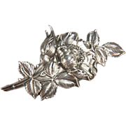 SALE UNGER BROTHERS Fine Art Nouveau Sterling Silver Large Rose Brooch/Pin