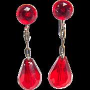 SALE Flashy Vintage Burnt Orange Red Dangle Drop Style Screw Back Style Beaded Earrings
