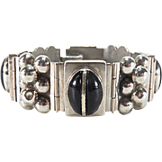 SALE Hefty Vintage Mexico Silver Onyx Hinged Bracelet