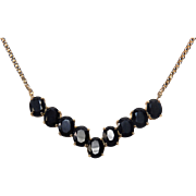 SALE Midnight Blue Vintage Sapphire V Style 10K Yellow Gold Collar Necklace - 2 Day Sale