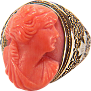 SALE Art Deco Salmon Coral Cameo Filigree 10K Two Toned Yellow and White Gold Ring ...