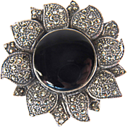 SALE Vintage Sterling Silver Onyx and Marcasite Floral Pin
