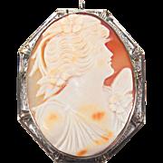 SALE Artist Signed Art Deco Filigree Natural Conch Cameo 14K White Gold Pin / Pendant