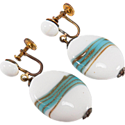 SALE Vintage Japan Art Glass Bead Screw Back Style Dangle Earrings