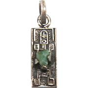 SALE Vintage Pre Columbian Inca Genuine Rough Cut Emerald Sterling Silver Charm