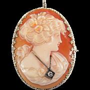 SALE Art Deco En Habille Diamond 14K White Gold Filigree Cameo Pin / Pendant