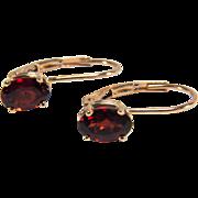 SALE Super Garnet 14K Yellow Gold Lever Back Earrings
