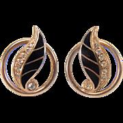 SALE Vintage Black Enamel and White Rhinestone Gold Toned Screw back Style Earrings