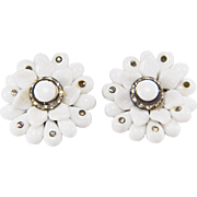 SALE Vintage 1940s Western Germany Milk Glass and Rhinestone Clip Style Earrings