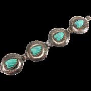 SALE Vintage Faux Carved Turquoise Silver Tone Bracelet