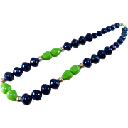 SALE Vintage 1960s Classic Bright and Bold Chunky Navy and Green Plastic Beaded Necklace