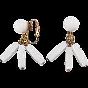 SALE Vintage Trifari Clip Style White Dangling Beaded Earrings