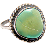 SALE Old Pawn Vintage Navajo Turquoise Sterling Silver Ring