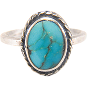 SALE Vintage Native American Navajo Turquoise Sterling Silver Ring