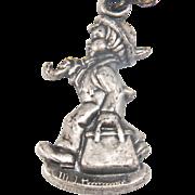 SALE Vintage Sterling MI Hummel Club Boy with Briefcase Charm/Pendant Necklace in Original Box