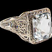 SALE Art Deco Aquamarine Filigree 14K White Gold Ring