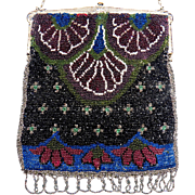 SALE Art Deco Floral Pattern Beaded Purse