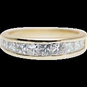 Vintage Princess Cut Diamond Wedding Band 14k Yellow Gold Band Vintage Wedding Band Thick Diam