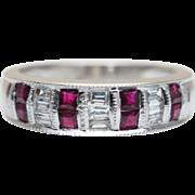 Vintage Ruby & Baguette Diamond Anniversary Band 14k White Gold Wedding Ring