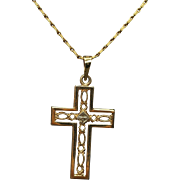 Estate 14 Yellow Gold Pendant Cross Necklace
