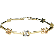 Multi Colored Gold Flower Bracelet Rose Gold White Gold Yellow Gold