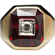 Estate Synthetic Ruby & Diamond Cocktail Ring