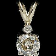 Vintage .72ct Mine Cut Diamond Pendant