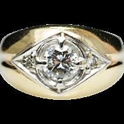 Estate Diamond Star Band Ring Yellow Gold
