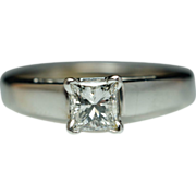 Simple Solitaire Princess Cut Diamond Engagement Ring 14k White Gold