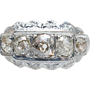 Vintage Art Deco 5 Stone Old Mine Cut Diamond Cocktail Ring