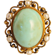 Late Victorian Pearl and 14K Yellow Gold Victorian Brooch Pin
