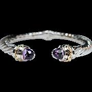 Sterling Silver & Purple Amethyst Bangle Bracelet 18k Gold Accents Amethyst Bracelet Sterling