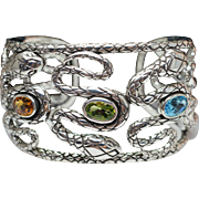 Sterling Silver Citrine, Peridot, & Blue Topaz Snake Wide Bangle Bracelet