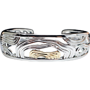 Sterling Silver & 18k Yellow Gold Wide River Bangle Bracelet