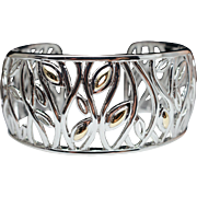 Sterling Silver & 18k Yellow Gold Nature Leaf Wide Bangle Bracelet