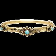 Antique Turquoise Yellow Gold Bangle Bracelet