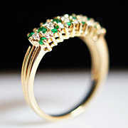 Diamond Checkers-Emerald & Diamond Ring with 14k Yellow Gold