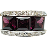 Vintage 4.28ctw Princess Cut Rubellite & Diamond Band Ring 14k Yellow Gold