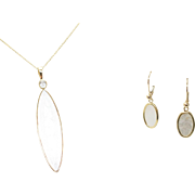 Mother of Pearl & Sapphire Earrings & Pendant Jewelry Set in 14k Yellow Gold