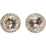 Morganite Diamond Halo Stud Earrings in 14k Yellow Gold
