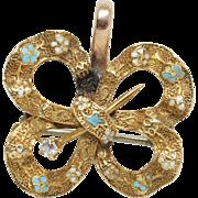 Antique Late Victorian Diamond & Enamel Brooch Pendant Pin 14k Yellow Gold