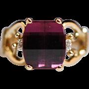 Vintage 14K Yellow Gold Rubellite & Diamond Cocktail Ring