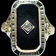 Antique Art Deco White Sapphire & Onyx Ring 18k Yellow & White Gold - Size 8.5