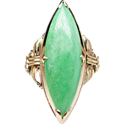 Vintage Marquise Cut Natural Jadeite Jade Ring in 14k Yellow Gold Solitaire