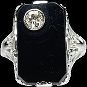 Vintage Antique Diamond & Onyx Ring - 18k White Gold Swiss Cut Diamond