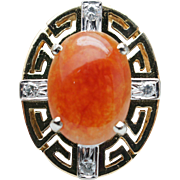 2.02CTW Orange Jade & Diamond 14K Yellow Gold Cross Ring