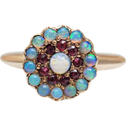 SALE Vintage Opal Rainbow Halo Circle Ring in 10k Rose Gold