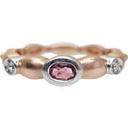 Vintage Tourmaline & Diamond Band in 14k Rose Gold Stackable Ring Jewelry