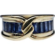 1.86ctw Natural Sapphire Vintage Anniversary Band Wedding Ring 18k Yellow Gold