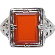 Vintage Art Deco Carnelian Statement Ring in 14k White Gold